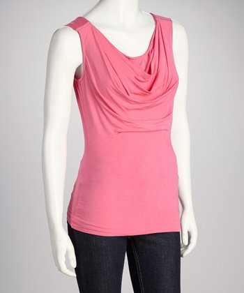Randy Kemper Flamingo Pink Drape Sleeveless Top