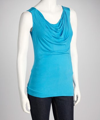 Randy Kemper Pool Blue Drape Sleeveless Top
