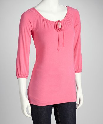 Flamingo Pink Tie-Front Top