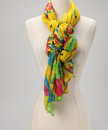 Yellow Petal & Dot Scarf