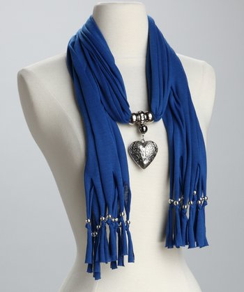Blue Heart Charm Scarf