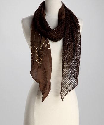 Brown Sequin Pashmina-Silk Blend Scarf