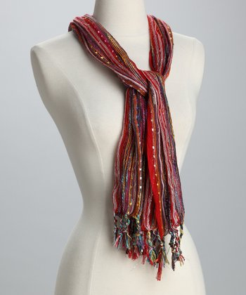 Red Mixed-Thread Scarf