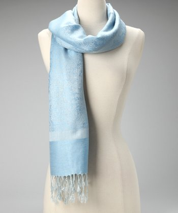Light Blue Shamina Pashmina-Silk Blend Scarf