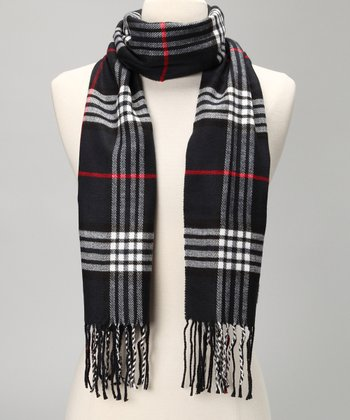 Dark Blue & Red Plaid Wool Scarf