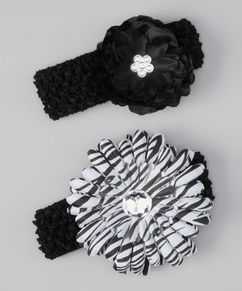 Raquel's Cuties Black & White Zebra Flower Headband Set