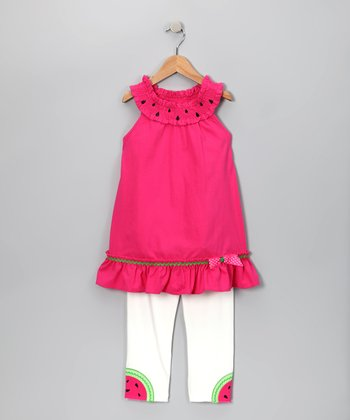 Fuchsia Watermelon Yoke Top & Capri Leggings - Girls