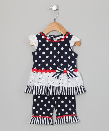 Navy & White Polka Dot Tunic & Leggings - Toddler & Girls