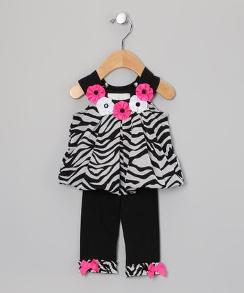 Black & White Zebra Bubble Tunic & Leggings - Infant & Toddler