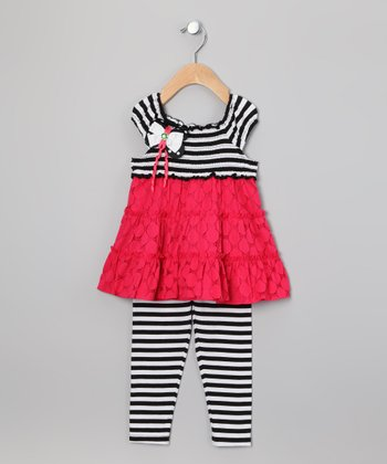 Coral & Black Stripe Tier Tunic & Leggings - Infant