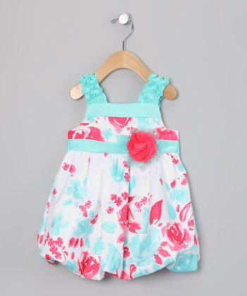 Aqua & Pink Flower Bubble Dress - Toddler & Girls