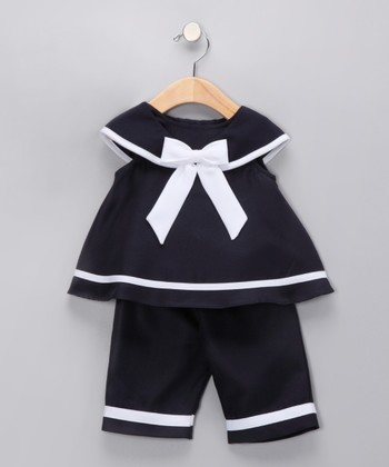 Navy Bow Top & Pants - Infant
