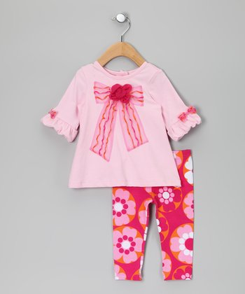 Pink & Fuchsia Bow Tunic & Floral Leggings - Toddler