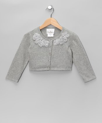 Gray Rosette Cardigan - Girls