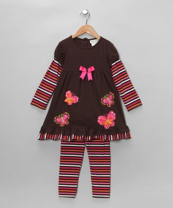Brown & Fuchsia Butterfly Tunic & Leggings - Girls