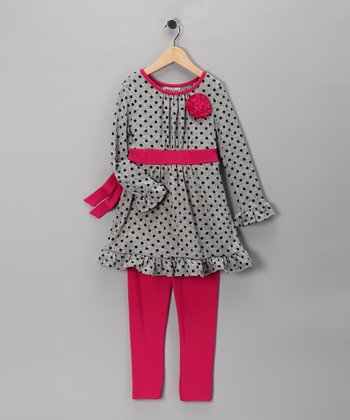 Gray & Pink Ruffle Tunic & Leggings - Girls