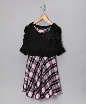 Pink Plaid Dress & Cardigan - Girls