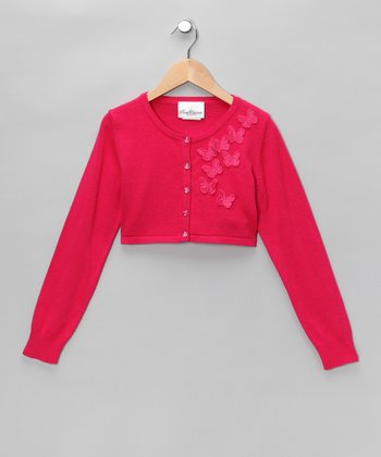 Fuchsia Butterfly Cardigan - Girls