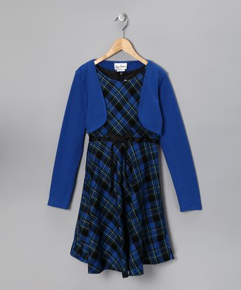 Blue Plaid Dress & Bolero - Girls