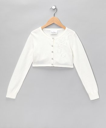 Ivory Butterfly Cardigan - Girls