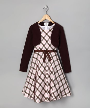 Brown Plaid Dress & Bolero - Girls