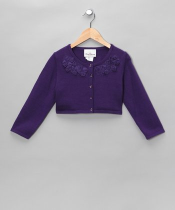 Purple Rosette Cardigan - Girls