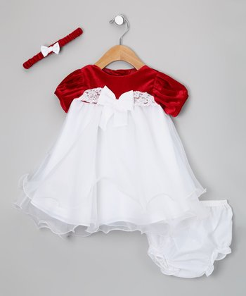 Red & White Organza Dress Set - Infant