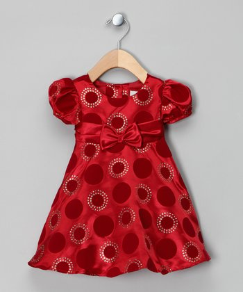 Red & Gold Flocked Polka Dot Dress - Infant
