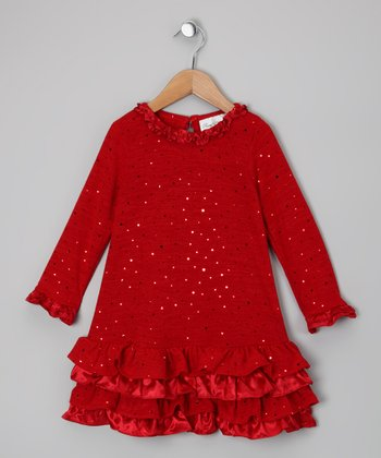 Red Sparkle Ruffle Dress - Girls