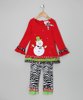 Red Snowman Tunic & Zebra Leggings - Infant