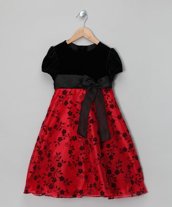 Black & Red Velvet Floral Dress - Infant