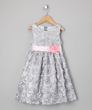 Silver & Pink Soutache Dress - Infant & Girls