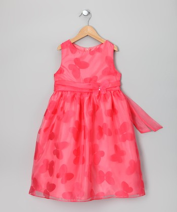 Rare Editions Peach Butterfly A-Line Dress - Girls
