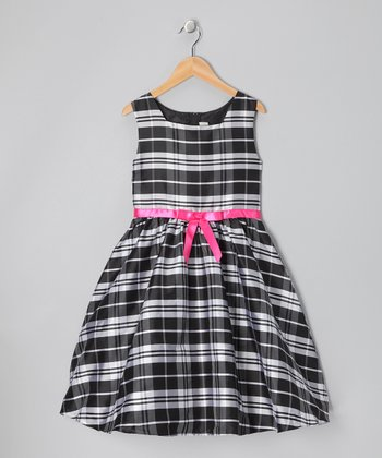 Black & White Plaid Promo Dress - Girls