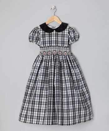 Black & White Plaid Smocked Dress - Girls