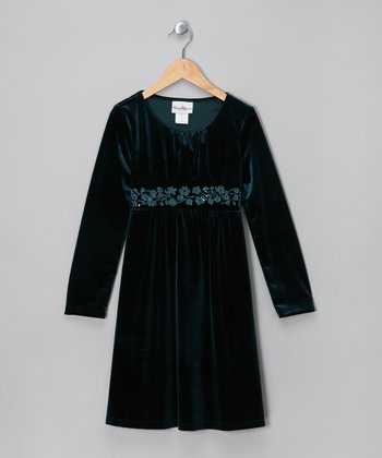 Emerald Velvet Dress - Girls