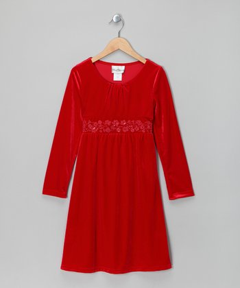 Red Velvet Dress - Girls