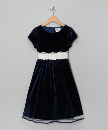 Navy Velvet Dress - Girls
