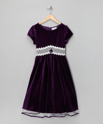 Eggplant Velvet Dress - Girls
