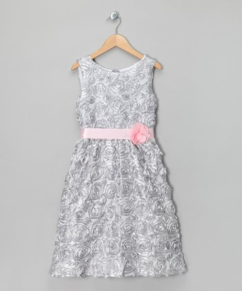 Silver Rosette Dress - Girls' Plus