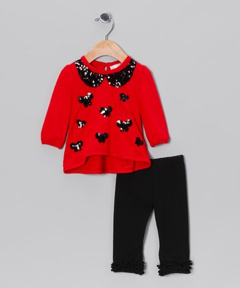 Red & Black Sequin Bow Tunic & Leggings - Infant