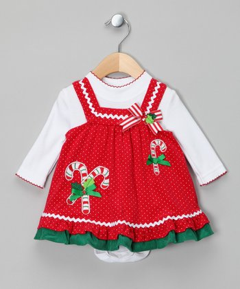 Red Polka Dot Candy Cane Bodysuit & Jumper - Infant