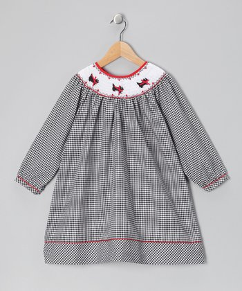 Rare Editions Black Smocked Gingham Dress - Girls