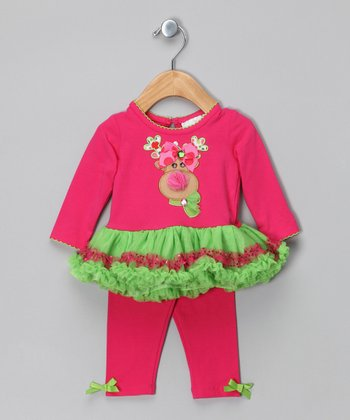 Pink & Lime Reindeer Tunic & Leggings - Infant & Girls