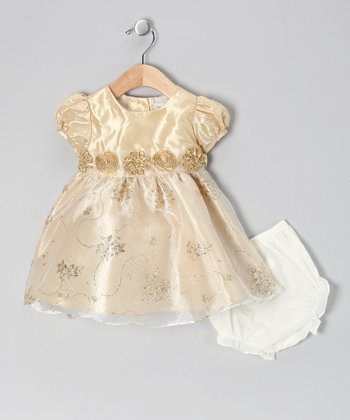 Gold Taffeta Dress & Diaper Cover - Infant & Toddler