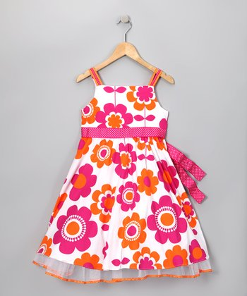 Fuchsia & Orange Floral Dress - Girls