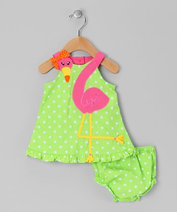 Lime & Pink Flamingo Dress & Diaper Cover - Infant