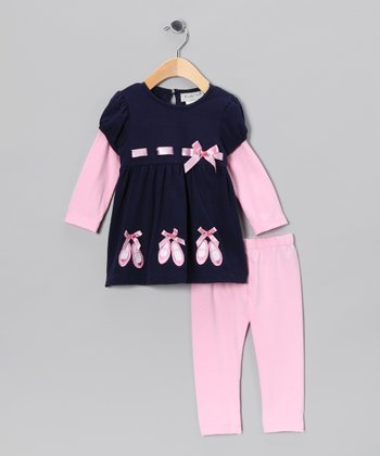 Navy & Pink Ballerina Slipper Tunic & Leggings - Infant