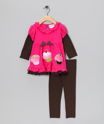 Fuchsia & Brown Polka Dot Cupcake Tunic & Leggings - Toddler