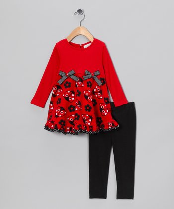 Red & Black Ladybug Tunic & Leggings - Girls